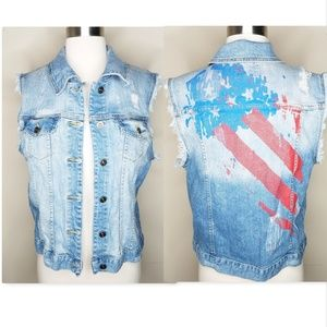 Just USA denim sleeveless distressed vest